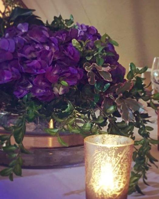 Beautiful Hydrangea along with subtle candle light