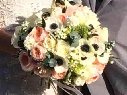Spring elements of Anemone accesorised withe beautiful David Austin Roses